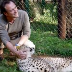 In Nairobi National Park with a tame cheetah