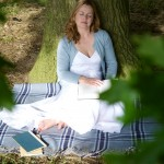 Liz Earle under a tree, Norfolk