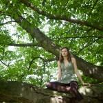 Wood nymph girl in an oak tree