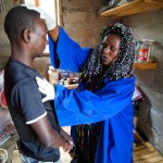 Sangoma traditional healer with patient. Kwazulu Natal,South Africa