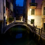 Venice Canal Bridge at dusk