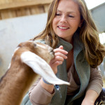 Liz Earle with a dairy goat