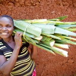 Mildred Nafula and sisal. Sumuka Group, Namboani Village